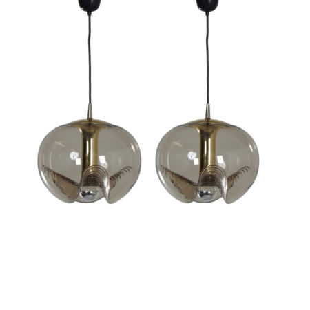 Pair of Futura Pendant in Crystal Glas by Peill & Putlzer, 1970s | Mid Century Design
