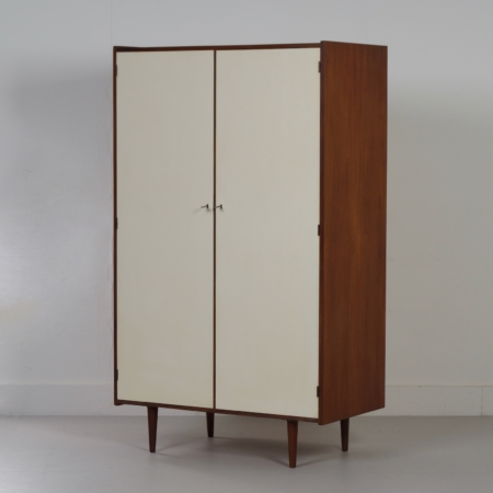 Vintage Wardrobe in Teak with White Doors, Netherlands 1960s