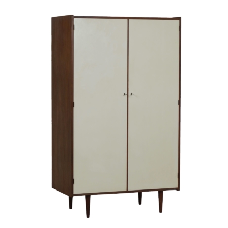 Vintage Wardrobe in Teak with White Doors, Netherlands 1960s | Mid Century Design