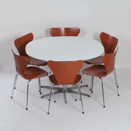 Danish Dining Set by Piet Hein, Bruno Mathsson and Arne Jacobsen for Fritz Hansen, 1970s | Round Dining Table with Six Butterfly Chairs