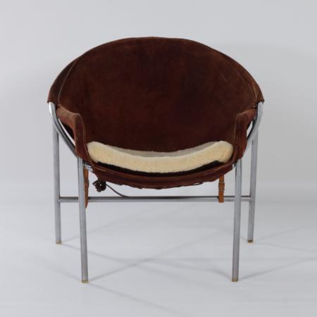 Danish Sling Chair by Erik Jørgensen for Bovirke, 1953 | Brown Suede