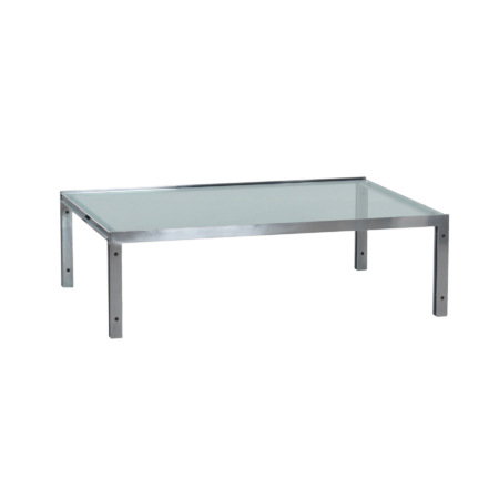 Rectangular Mid-Century Glass Coffee Table by Metaform, 1980s | Mid Century Design