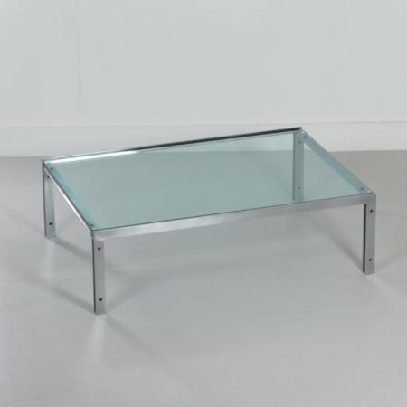 Rectangular Mid-Century Glass Coffee Table by Metaform, 1980s