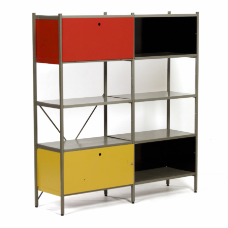 Model 663 Cabinet by Wim Rietveld for Gispen, 1950s (2) – Red, Yellow, Black | Mid Century Design