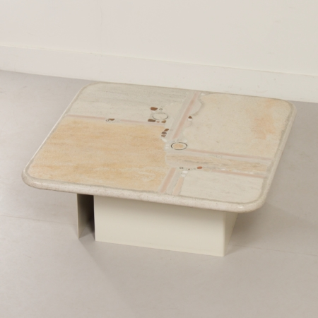 White Natural Stone Coffee Table by Paul Kingma, 1980s – Square 100 cm