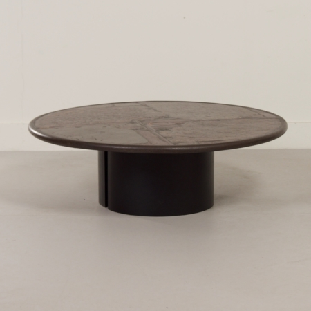 Brown Natural Stone Coffee Table by Paul Kingma, 1990s – Round 116 cm