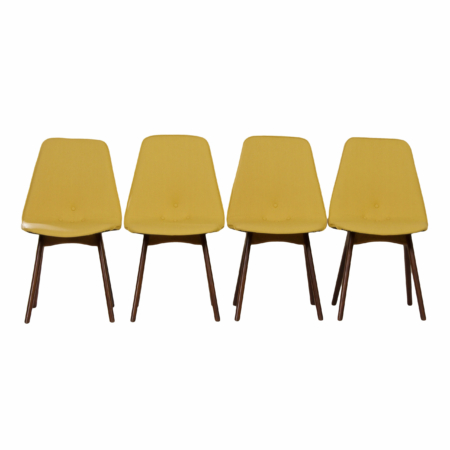 Yellow Teak Dining Chairs by Van Os, 1950s – Set of 4 | Mid Century Design