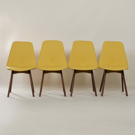 Yellow Teak Dining Chairs by Van Os, 1950s – Set of 4