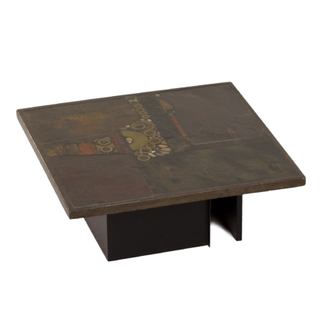 Brown Coffee Table with Mosaic by Paul Kingma, 1970s – Square 88 cm
