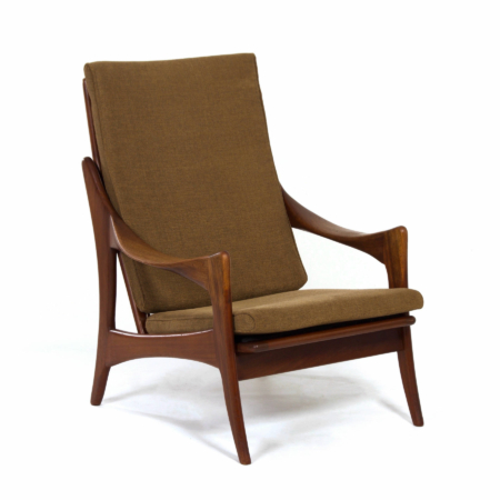 Organic Teak Easy Chair with High Back by The Ster, 1960s | Mid Century Design