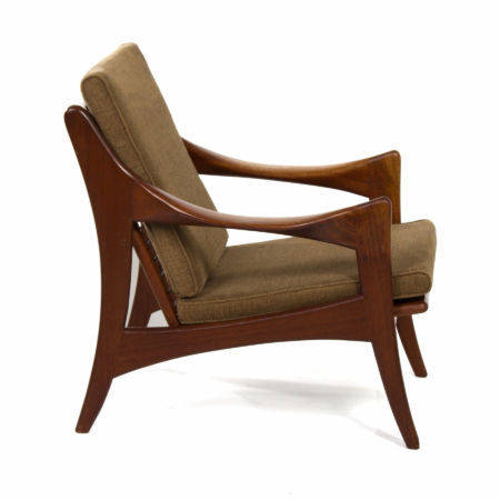 Organic Teak Easy Chair with Low Back by De Ster, 1960s | Mid Century Design