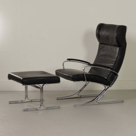 Berlin Lounge Chair with Footstool by Meinhard von Gerkan for Walter Knoll, 1970s