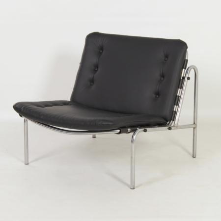 Black Leather Osaka Chair by Martin Visser for 't Spectrum, 1970s – Reupholstered