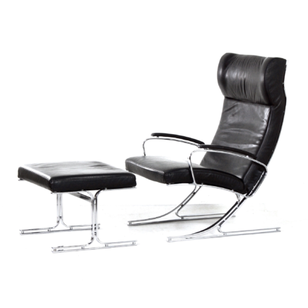 Berlin Lounge Chair with Footstool by Meinhard von Gerkan for Walter Knoll, 1970s | Mid Century Design