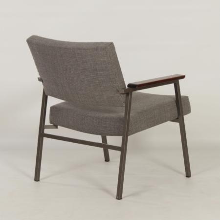 Ladies Armchair with Teak Armrests by Avanti, 1960s – Reupholstered with Brown Melange Ploeg Fabric