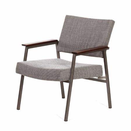 Ladies Armchair with Teak Armrests by Avanti, 1960s – Reupholstered with Brown Melange Ploeg Fabric | Mid Century Design