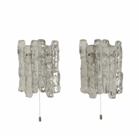 Pair Wall Lamps in Frosted Ice Glass by J. T. Kalmar for Kalmar Franken KG, 1960s | Mid Century Design