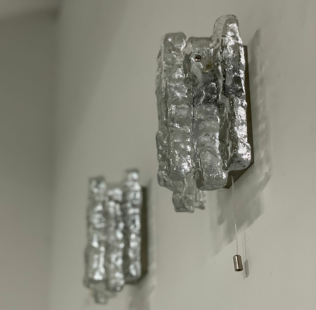 Pair Wall Lamps in Frosted Ice Glass by J. T. Kalmar for Kalmar Franken KG, 1960s