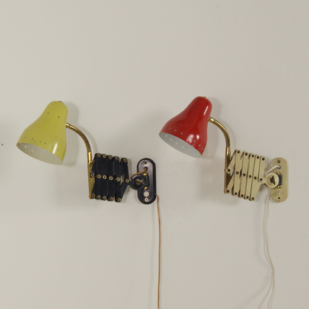 Pair Scissor Lamps in red and Yellow by H. Busquet for Hala, 1960s