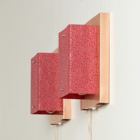 Pair of Copper Wall Lamps with Red Hood by Aqua Signal, 1980s