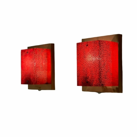 Pair of Copper Wall Lamps with Red Hood by Aqua Signal, 1980s | Mid Century Design