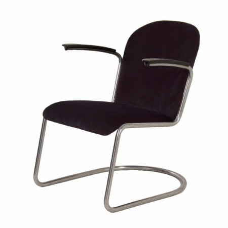 Original 413 Cantilever Armchair by W.H. Gispen for Gispen, 1950s – Reupholstered with Rib | Mid Century Design