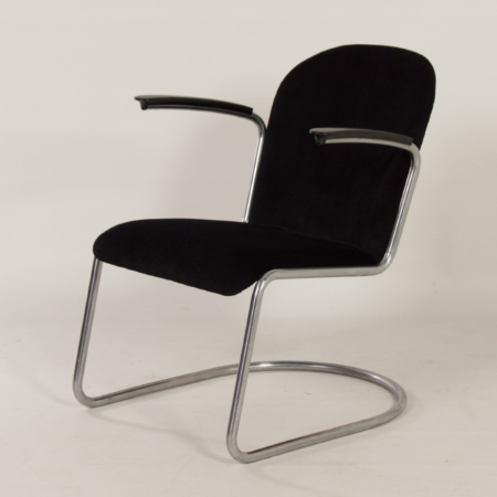 Original 413 Cantilever Armchair by W.H. Gispen for Gispen, 1950s – Reupholstered with Rib