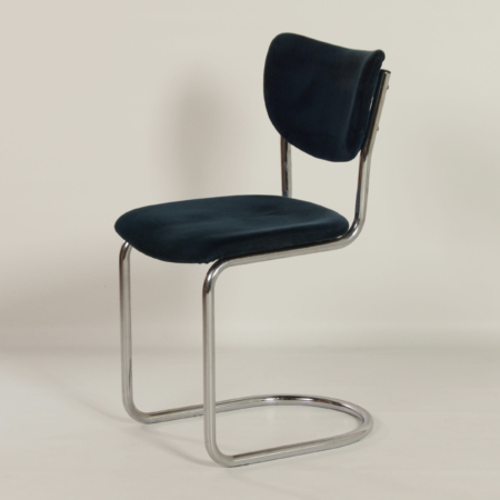 2011 Cantilever Chair in Blue Manchester Corduroy by Toon de Wit for Gebr. De Wit, 1950s