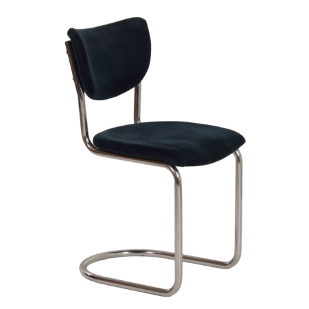 2011 Cantilever Chair in Blue Manchester Corduroy by Toon de Wit for Gebr. De Wit, 1950s | Mid Century Design