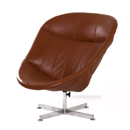 Modello Swivel Chair by Rudolf Wolf for Rohé Noordwolde, 1960s – Brown Leather Upholstery | Mid Century Design