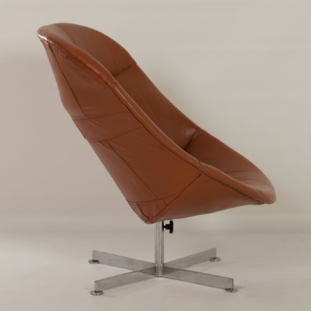 Modello Swivel Chair by Rudolf Wolf for Rohé Noordwolde, 1960s – Brown Leather Upholstery