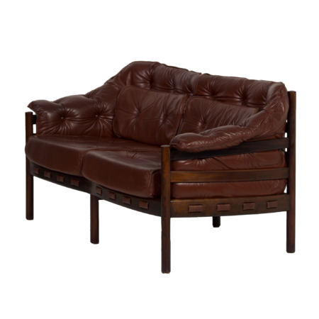 Two-Seater Sofa by Sven Ellekaer for Coja, 1960s | Brown Leather | Mid Century Design
