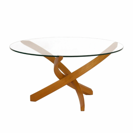 Round Coffee Table with Glass Top and Bended Beech Wooden Frame | Mid Century Design