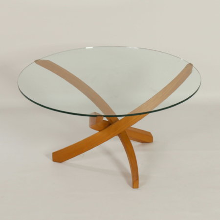 Round Coffee Table with Glass Top and Bended Beech Wooden Frame