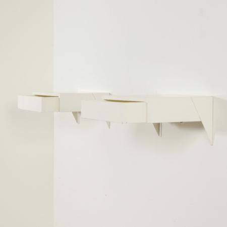White Wall Mounted Bedside cabinet model DD01 by Martin Visser for 't Spectrum, 1950s