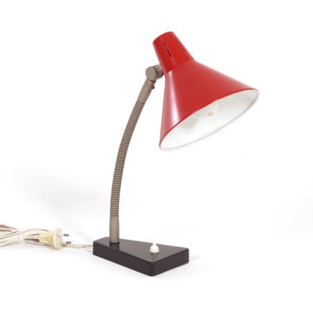Red Hala Desk Lamp Model 11, 1960s | Mid Century Design