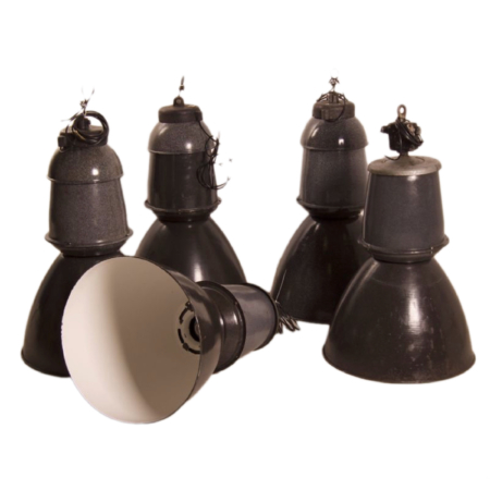 Lot of Enameled Factory Lamps by EFC, 1950s | Mid Century Design